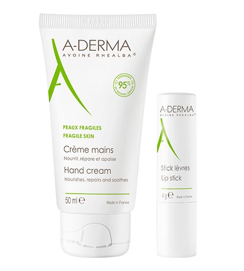 A-Derma Creme de Mãos 50ml + OFERTA Stick de Lábios 4g