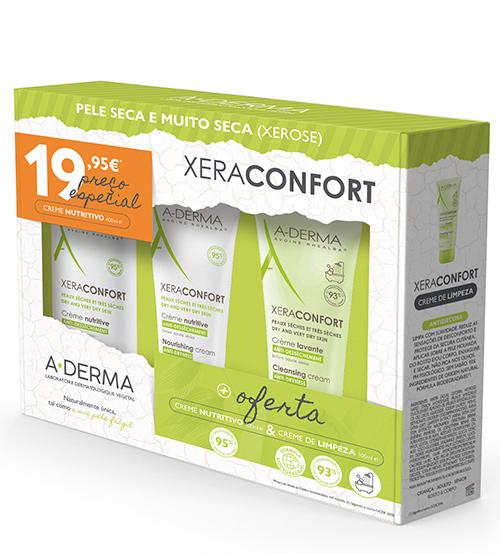A-Derma Xeraconfort Creme Nutritivo 400ml + OFERTA Creme Nutritivo 100ml & Creme Limpeza 100ml