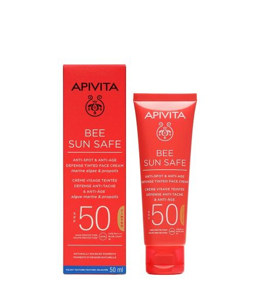 Apivita Bee Sun Safe Creme Antimanchas e Antienvelhecimento Com Cor SPF50 50ml