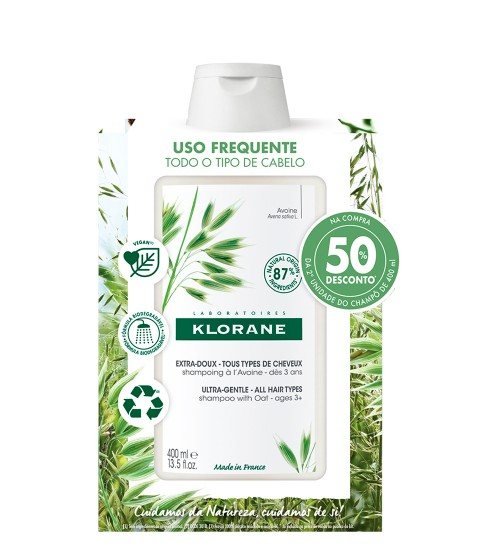 Klorane Capilar Shampoo Leite de Aveia 2x400ml