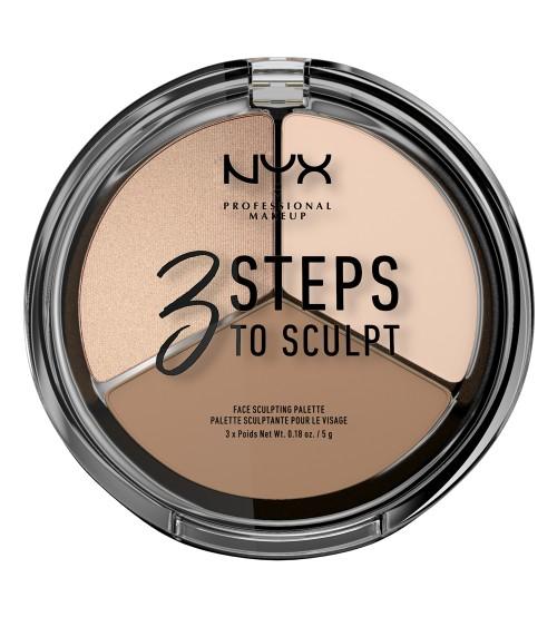 NYX 3 Steps To Sculpt Paleta de Contorno - Fair 5g