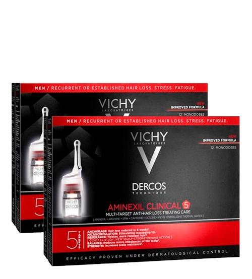 Vichy Dercos Aminexil Clinical 5 - 2x12 Ampolas - Homem