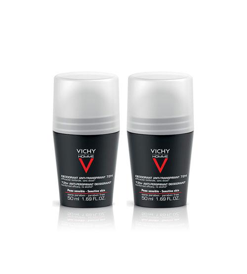Vichy Homme Antitranspirante Controlo Extremo 72h 2x50ml
